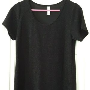 lularoe short sleeve black glittery top